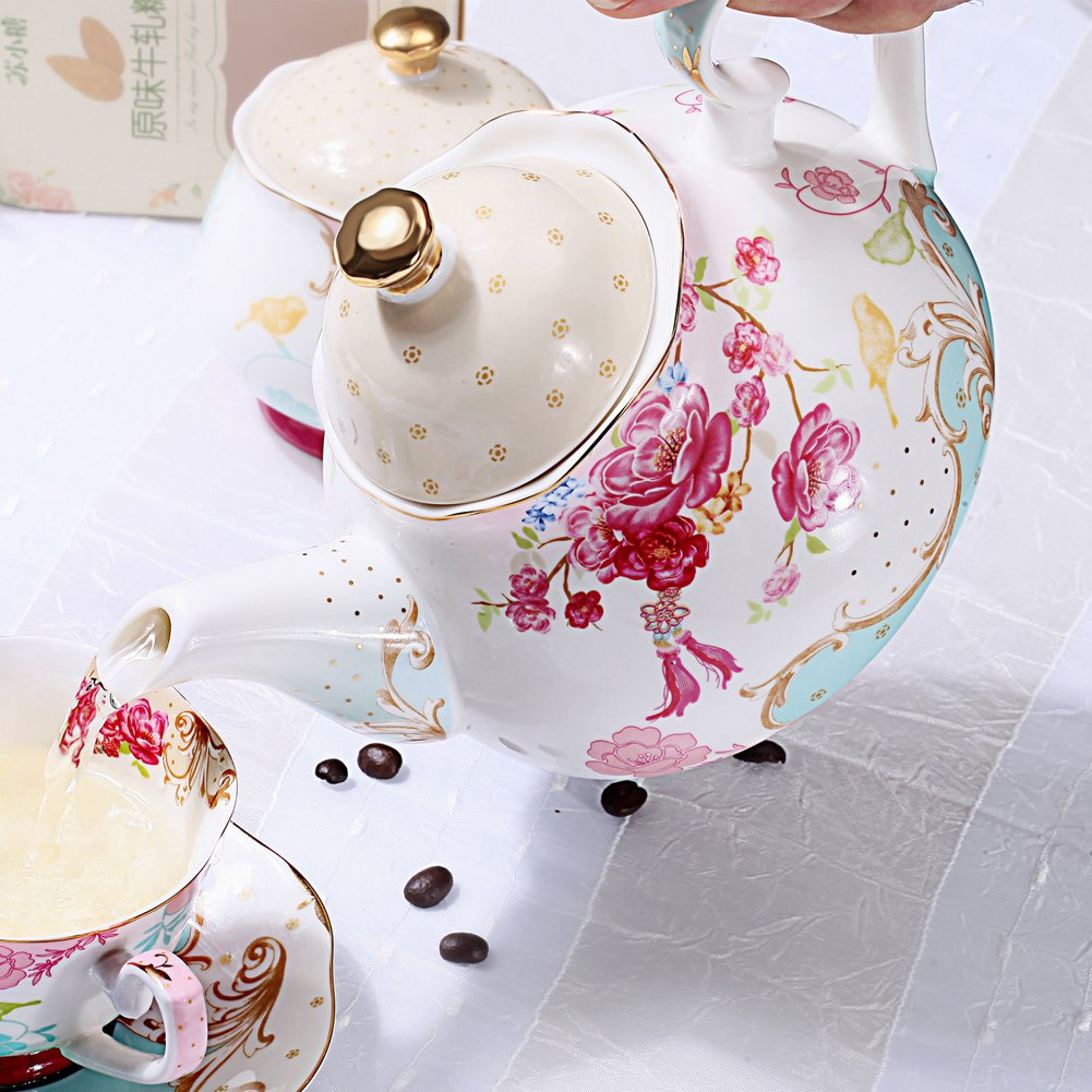 AWHOME Bone China Teapot Vintage Royal Style Red Floral -4 Cup 2