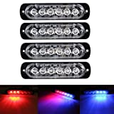XT AUTO 6LED Car Truck Emergency Beacon Warning Hazard Flash Strobe Light Red/Blue 4-pack