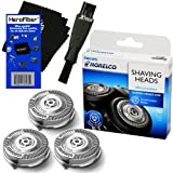 Philips Norelco SH50/52 Replacement Head for Series 5000, PowerTouch (PT8, PT7_) & AquaTouch (AT8, AT7_) Electric Shavers + Double Ended Shaver Brush + HeroFiber® Ultra Gentle Cleaning Cloth (Color: wood251, Tamaño: bed-pillows-325)