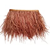 wanjin Ostrich Feathers Trims Fringe with Satin Ribbon Tape for Dress Sewing Crafts Costumes Decoration Pack of 2 Yards (Brown) (Color: 51#-Brown)