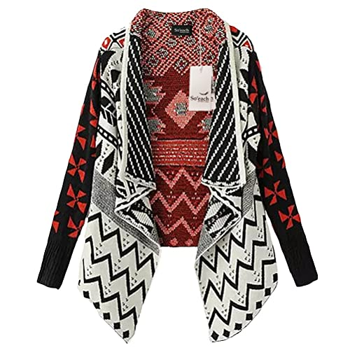 Soeach Womens Aztec Draped Collar Tribasl Pattern Lapel Cardigan Sweater