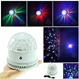 Bola de Cristal giratoria/ TSSS XL52-W RGB  automática y control de voz inteligente 48 luces LED