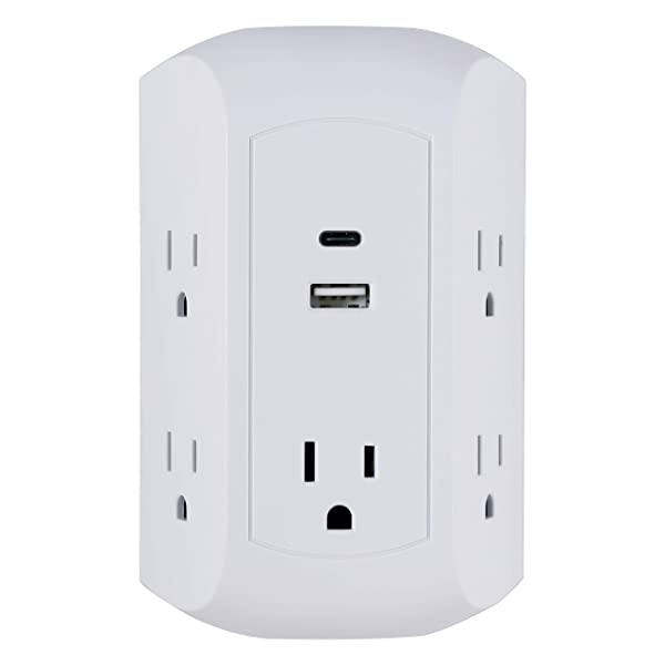 GE 15W USB-C Surge Protector Outlet Adapter, 5 Outlet Wall Tap, for iPhone 11/Pro/Max/XS/XR/X/8, iPad Pro/Air/Mini, Samsung Galaxy, Google Pixel, 17W USB-C & USB Total Power, White, 43650 (Color: White, Tamaño: 1 Pack)