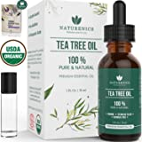 Naturenics Premium Organic Tea Tree Essential Oil - 100% Undiluted Pure USDA Certified Melaleuca Alternifolia Therapeutic Grade - For Toenail Fungus & Acne Treatment - Roll On & eBook (Tamaño: 1 Ounces)