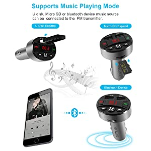 FM Transmitter for Car, Elzo Bluetooth Receiver Wireless Radio Adapter Car Charger, Music Player Car Kit with Hands Free Calling, Dual USB Ports Charg