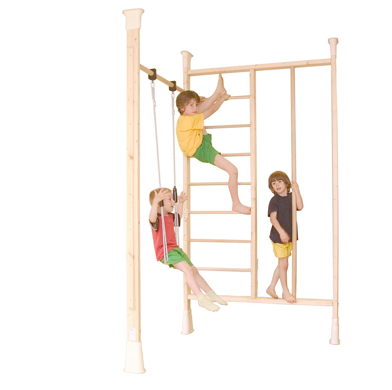 Original Kinder Spiel- und Sportgerät Sprossenwand - KletterDschungel Holz Turnwandset, verspannbar für Raumhöhen von 2,00 - 3,50 m; TÜV/GS