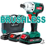 Brushless Cordless Impact Driver-20V Max Li-Ion LANNERET 1/4 Inch Hex Impact Driver Combo Kit w/192 ft-lb Torque,Double Speed(0-1400/0-2600 RPM),2X2.0Ah Lithium Batteries and BMC Carrying Case (Color: Green)