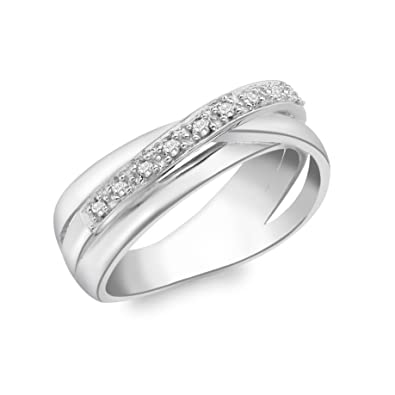 Carissima Gold 9ct White Gold Triple Crossover Diamond Ring