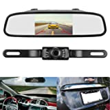 LeeKooLuu Backup Camera and Mirror Monitor Kit 4.3 display licence Plate rear view Camera system need single power for Rear view or Fulltime View optional With 7 LED Night Vision waterproof for Car