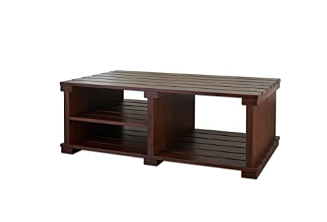 Furniture of America Barcella Slat Design Coffee Table, Vintage Walnut