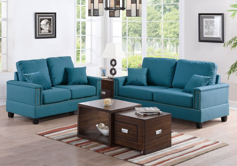 1PerfectChoice Modern 2 pcs Sofa Set Couch Loveseat Nailhead Trim Arm Teal Linen-Like Polyfiber