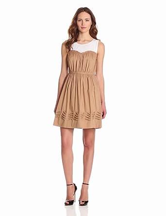 McGinn Women's Olive Cinched Dress, Dark Tan, Medium