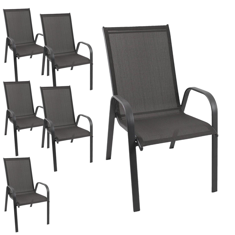 6 Stück Gartenstuhl stapelbar Gartensessel Stapelstuhl Stapelsessel Stahlgestell pulverbeschichtet mit 2×1 Textilenbespannung Gartenmöbel Terrassenmöbel Balkonmöbel günstig online kaufen