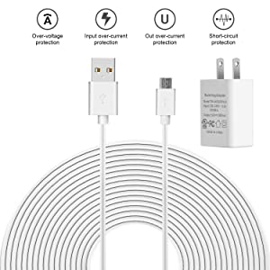 25 ft/ 7.5 m Power Extension Cable with Power Adapter Compatible with Blink Cam, Wyze Cam, Nest Cam Indoor, YI Dome Cam, Zmodo Cam, Furbo Dog and Home Security Camera (1 Pack) (Tamaño: 1 Pack)