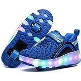 UBELLA Unisex Boys Girls LED Lighting Single Wheel/Double Wheels Roller Skate Sneakers (Color: Blue 2wheels, Tamaño: 3M US Little Kid)