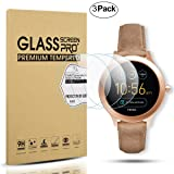 Diruite 3-Pack for Fossil Q Venture Gen 3 Screen Protector, 2.5D 9H Hardness Tempered Glass Screen Protector for Q Venture Smart Watch - Permanent Warranty Replacement (Color: clear)