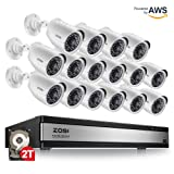 ZOSI 720p 16 Channel Security Camera System,16 Channel Hybrid HD-TVI 1080N Dvr with (16) 1.0MP 720p(1280TVL) Night Vision Outdoor/Indoor Weatherproof Home Surveillance Cameras(2TB Hard Drive Built-in) (Color: 16 Cameras Kit with HDD)