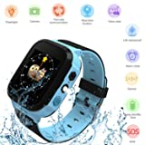 Kids Smartwatches, Smart Fashion Watches for Girls and Boys, Phone Calls, Voice Chat, Flashlight, Camera, SOS, Alarm, Maths Games with DND Mode and LBS Locator, Children Wrist Watch (Color: BLUE)