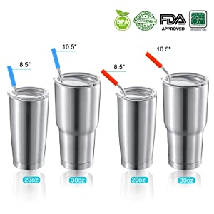 StrawExpert Set of 16 Reusable Stainless Steel Straws with Travel Case | Cleaning Brush | Silicone Tips Eco Friendly Extra Long Metal Straws Drinking for 20 24 30 oz Fit Yeti Tervis Rtic Tumbler (Color: Silver, Tamaño: Silver,10.5:4Straight+4Bent 8.5:4Straight+4Bent)