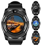 Padcod V8 Sports Smartwatch Bluetooth 4.0 Message Push, Sedentary Reminder, Pedometer, Sleep Monitoring Wristband for iOS/Android Phone (Black+Black) (Color: Black+Black)