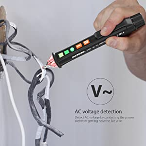 Dual Voltage Tester, Meterk Electric Voltage Tester Non-Contact 12V-1000V Voltage Detector Pen with Alarm Mode & Live/Null Wire Judgment, LED Flashlig