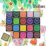 De.De. Craft Ink Stamp Pads DIY Color Washable Ink Stamp Pads for Kids, Craft Scrapbooking Stamp Pads for Rubber Stamps, Paper, Fabric (20 Pack)