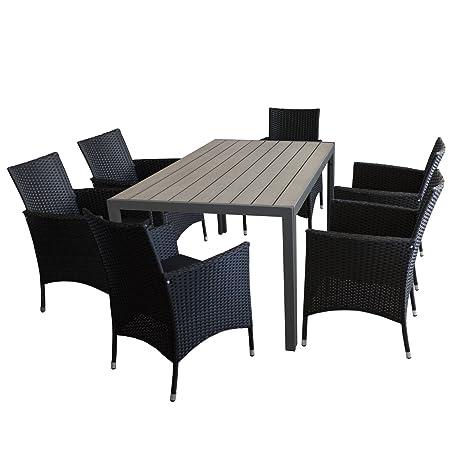 7tlg. Sitzgarnitur Gartenmöbel Set mit Aluminium Gartentisch, Polywood Tischplatte Grau, 150x90cm + 6x Rattansessel, Polyrattanbespannung Schwarz, inkl. Sitzkissen - Terrassenmöbel Sitzgarnitur Sitzgruppe