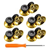 eXtremeRate 10 pcs Rubberized Chrome Thumbsticks Analog Sticks Buttons Replacement Parts for Xbox One Xbox One Elite Xbox One X Xbox One S Controller (Chrome Gold) (Color: Chrome Gold)
