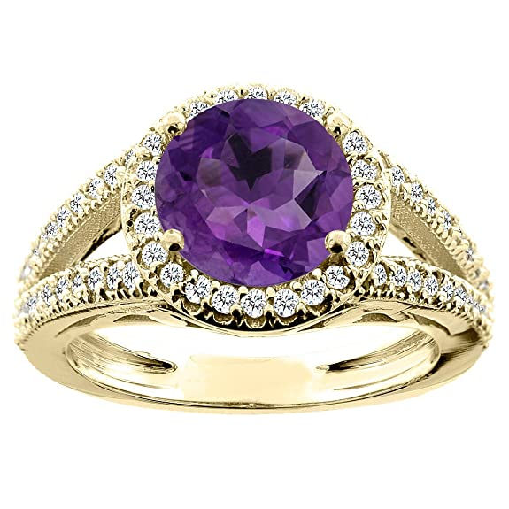 14ct White/Yellow/Rose Gold Natural Amethyst Ring Round 8mm Diamond Accent 7/16 inch wide, sizes J - T