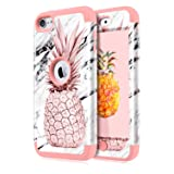 Dailylux iPod Touch 5 Case,iPod Touch 6 Case,iPod Touch 7 Case,3in1 Hybrid Impact Resistant Shockproof Case Soft Silicone Protective Cover for Apple iPod Touch 5/6/7th Generation Marble Pineapple Rose (Color: Marble Pineapple Rose Gold)