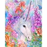 5D Diamond Painting, Full Drill Unicorn Crystals Embroidery DIY Resin Cross Stitch Kit Home Decor Craft (Unicorn in Garden) (Color: Unicorn in Garden)
