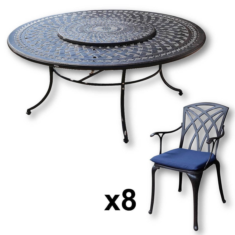 Lazy Susan - OLIVIA 180 cm Runder Gartentisch mit 8 Stühlen - Gartenmöbel Set aus Metall, Antik Bronze (APRIL Stühle, Blaue Kissen)