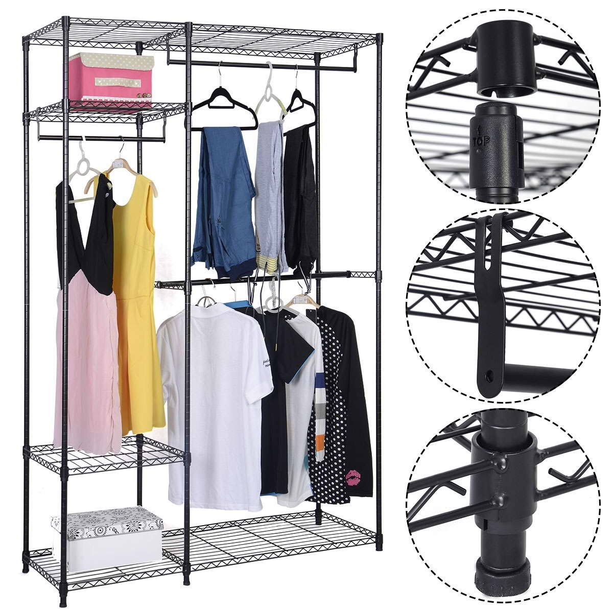 Safstar Portable Clothes Wardrobe Garment Rack Home Closet