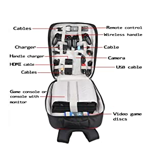 Universal Gaming Backpack,PS4 Backpack Travel Game System Carrying Case Storage Bag for Sony Playstation 4/PS4 Slim/PS4 Pro/Xbox ONE/XB1S/Xbox ONE X/WII U/PS3/XBOX 360 Systems and Accessories,Black (Color: PS4/XBOX, Tamaño: L)