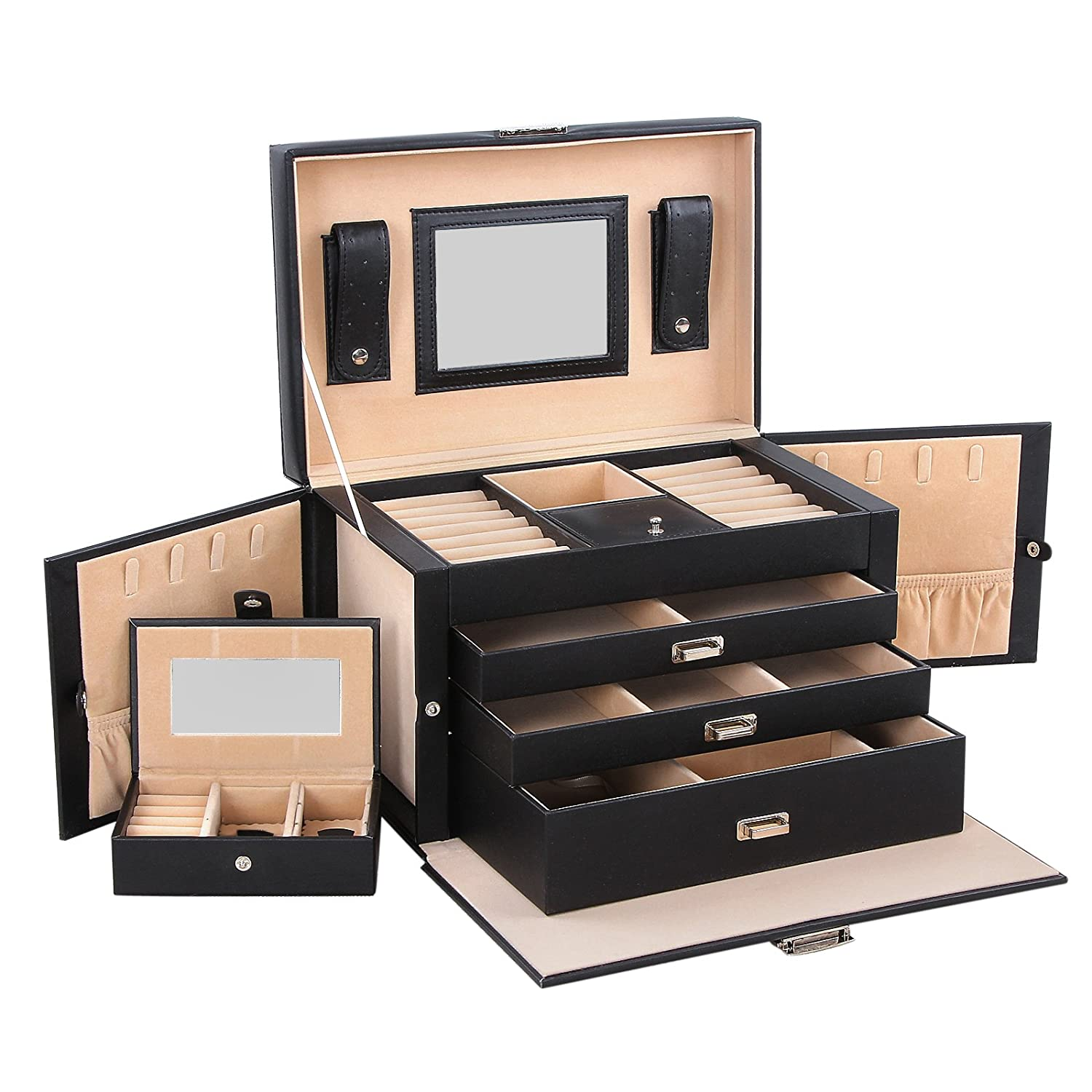 Songmics Black Leather Jewelry Box Lockable Jewelry Case with Mirror and Storage Drawers black jewelry watch box 10 grids slots watches display organizer storage case with lock