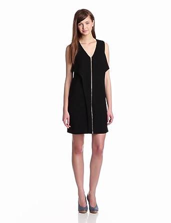 10 Crosby Derek Lam Women's Zip Front Dress, Black, 14