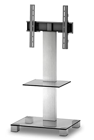 PL 2515 Glass Inox Aluminium Stand for TV of Sizes Up to 50 inch - Clear