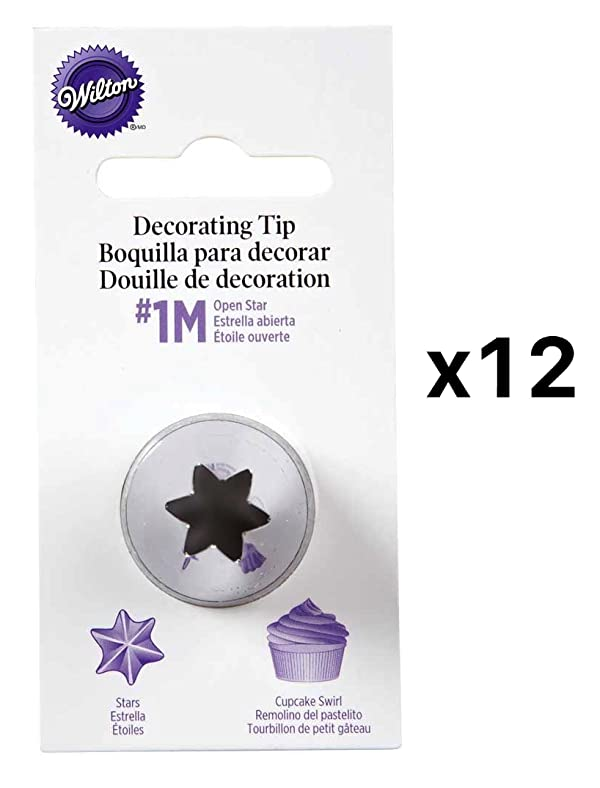 Wilton Open Star Tip #1M Icing Decorating Nickel Plated Brass L Coupler(12-Pack) (Color: Silver)