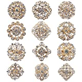 Mutian Fashion Lot 12pc Clear Rhinestone Crystal Flower Brooches Pins