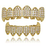 LuReen 14k Gold Silver Plated Iced Out Vampire Fangs Grillz Top and Bottom Grillz Set + 2 Extra Molding Bars (Gold Grillz Sets) (Color: Gold Grillz Sets)