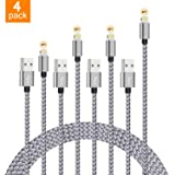 DOESIT Phone Cable, 4-Pack Nylon Braided Phone Cable Silver Grey for Phone 8 8 Plus X 7 7Plus 6s 6sPlus 6 6Plus 5 5s 5c (Color: sliver-4, Tamaño: 10 Feet)