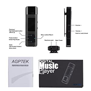 AGPTEK Clip MP3 Player with USB Flash Drive, 8GB Metal Lossless Music Player Supports FM Radio Recording Independent Volume Control, Black(U1) (Color: Black 8GB)