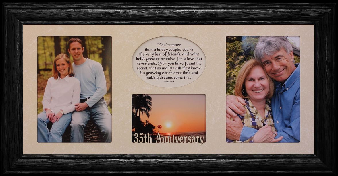7×15 35th ANNIVERSARY Laser & Poetry 3-Opening Collage w/Cream Mat & BLACK Solid Oak Frame