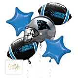 Andaz Press Balloon Bouquet Party Kit with Gold Cards & Gifts Sign, Panthers Football Themed Foil Mylar Balloon Decorations, 1-Set (Color: Sports Panthers)