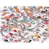 Miraclekoo 100 Pcs Floating Charms Assorted Mix DIY for Floating Lockets Glass Living Memory Lockets (Color: Sliver)