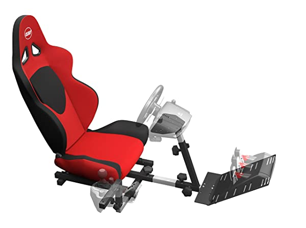 OpenWheeler GEN2 Racing Wheel Stand Cockpit Red on Black | Fits All Logitech G29 | G920 | All Thrustmaster | All Fanatec Wheels | Compatible with Xbox One, Playstation, PC Platforms (Color: Red)