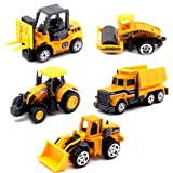 JQGT 5pcs Assorted Construction Toys Die Cast Metal Construction Vehicles Models Mini Yellow Truck Tractor Cars Toy Set for Kids Toddlers Boys (Styles May Vary) (Color: City Construction)
