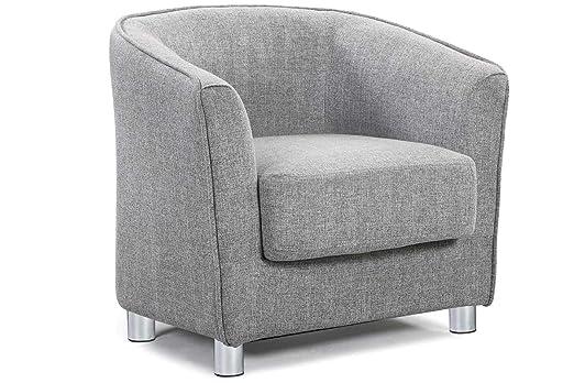 Vegas Modern Stoff gepolstert grau & Tartan Tub Stuhl Home Bucket Sessel von Stil in Design Grey Fabric