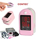 CONTEC CMS50DL Pulse Oximeter with Neck/wrist Cord, Carrying Case and Silicone, Pink (Color: Pink, Tamaño: small,handheld)