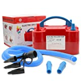 AlphaB-Designs -NEW- Premium Party-RED- Deluxe Portable Electric Balloon Blower Pump/Inflator, Dual Nozzle + Hose Extension; for Celebrations, Decorations, Party, Weddings, Birthday, Sport (Color: Red)